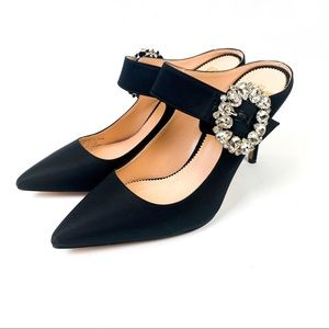 J. Crew Elsie Mary Jane Satin Mules with Buckle
